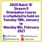 NYSC announced new orientation date for batch B stream 2