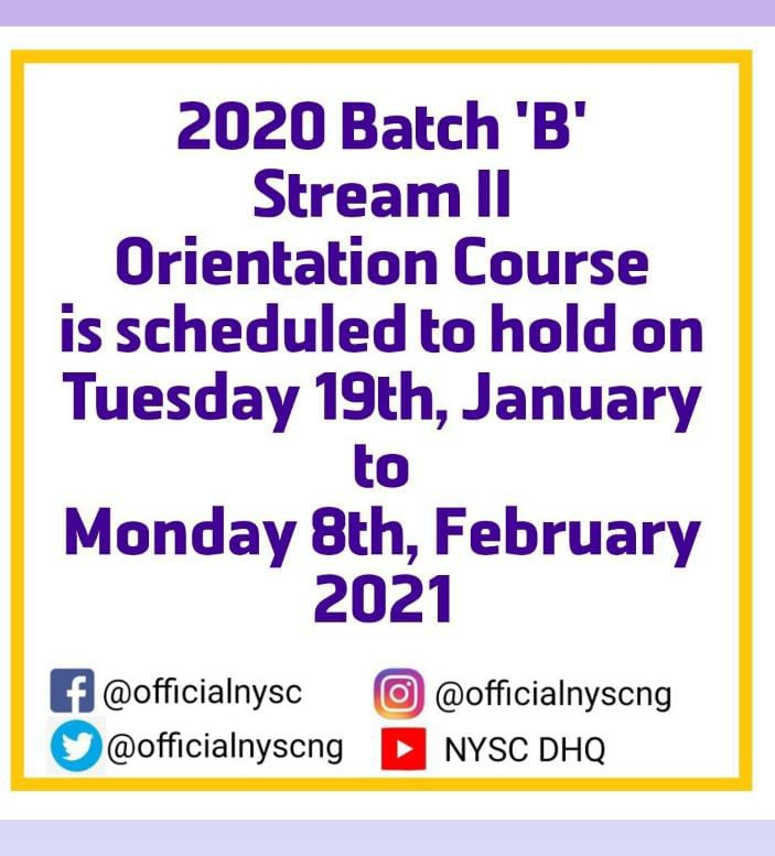 NYSC new orientation date